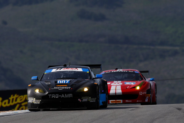 3-4 May, 2014, Monterey, California, USA  007, Aston Martin, V12 Vantage, GTD, Al Carter, James Davison 64, Ferrari, 458 Italia, GTD, Stefan Johansson, Kyle Marcelli ©2014, Michael L. Levitt LAT Photo USA