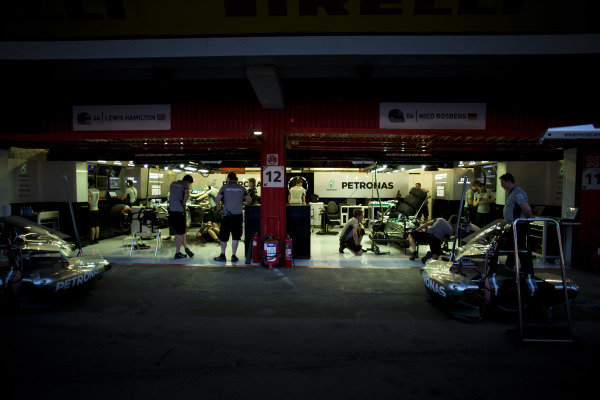 Circuit de Catalunya, Barcelona, Spain. Friday 9 May 2014. Night falls on the Mercedes AMG garage. World Copyright: Steven Tee/LAT Photographic. ref: Digital Image _L0U4972