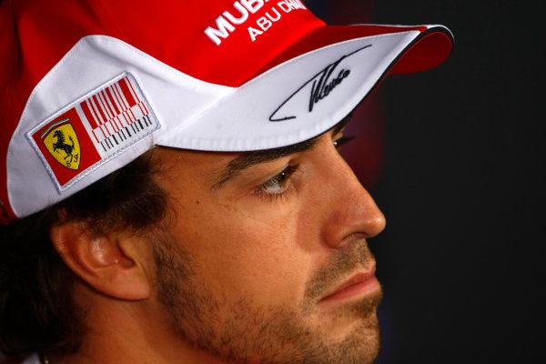 Autodromo Nazionale di Monza, Monza, Italy.9th September 2010.Thursday Press Conference. Fernando Alonso, Ferrari F10. Portrait. World Copyright: Charles Coates/LAT Photographicref: Digital Image _26Y8856