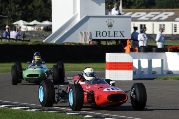 2016 Goodwood Revival Goodwood Estate, West Sussex,England 9th - 11th September 2016 Glover Trophy  Joe Colaasacco, Ferrari 1512, leads Andrew Beaumont, Lotus-Climax 24.  World Copyright : Jeff Bloxham/LAT Photographic Ref : Digital Image