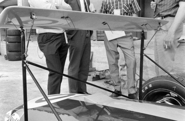 Rear wing on Jack Brabham's Brabham BT26 Repco.