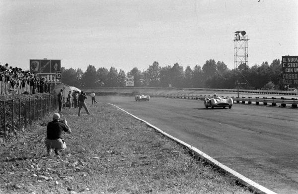 Stirling Moss, Mercedes W196, leads Juan Manuel Fangio, Mercedes W196.