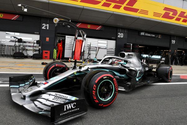 Lewis Hamilton, Mercedes AMG F1 W10 in the pit lane