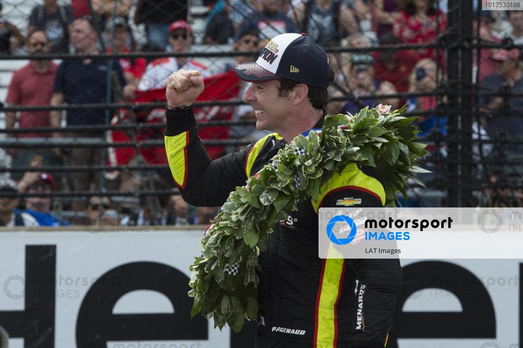 Simon Pagenaud, Team Penske Chevrolet, celebrates after win