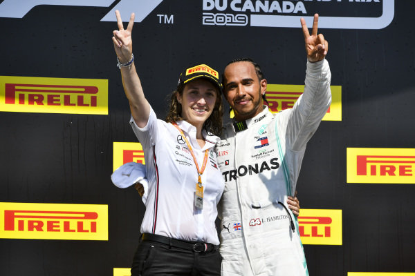 Lewis Hamilton, Mercedes AMG F1 and Margarita Torres Diez, Mercedes AMG F1 PU Engineer celebrate on the podium