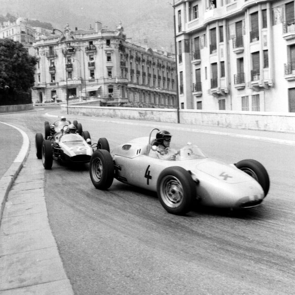 1961 Monaco Grand Prix.Monte Carlo, Monaco.11-14 May 1961.Dan Gurney (Porsche 718) leads Bruce McLaren (Cooper T55 Climax) into Station Hairpin. They finished in 5th and 6th positions respectively.Ref-8712.World Copyright - LAT Photographic