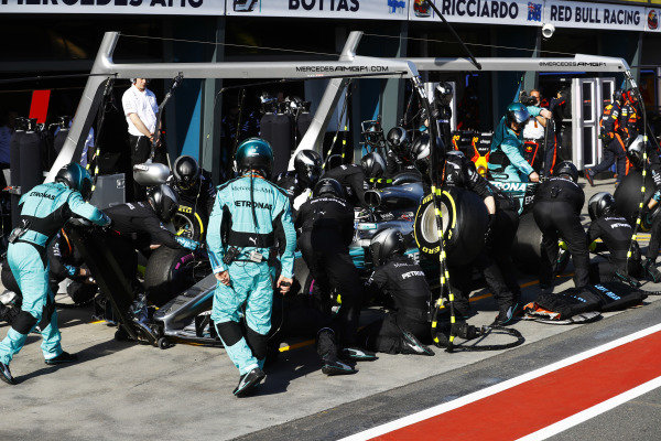 Valtteri Bottas (FIN) Mercedes-Benz F1 W08 Hybrid pit stop at Formula One World Championship, Rd1, Australian Grand Prix, Race, Albert Park, Melbourne, Australia, Sunday 26 March 2017.