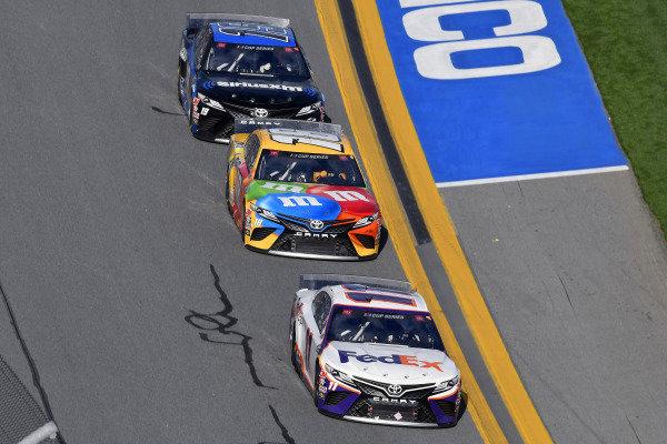#11: Denny Hamlin, Joe Gibbs Racing, Toyota Camry FedEx Express, #18: Kyle Busch, Joe Gibbs Racing, Toyota Camry M&M's and #19: Martin Truex Jr., Joe Gibbs Racing, Toyota Camry SiriusXM