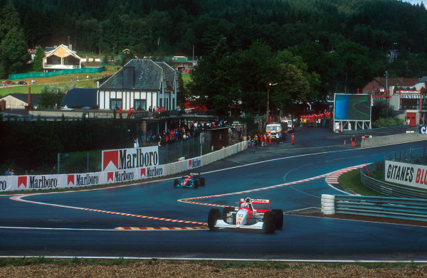 1994 Belgian Grand Prix.Spa-Francorchamps, Belgian.26-28 August 1994.Martin Brundle (McLaren MP4/9 Peugeot) at the reformed Eau Rouge. He exited the race after spinning off into the wall.Ref-94 BEL 13.World Copyright - LAT Photographic