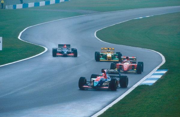 1993 European Grand Prix. Donington Park, England. 9-11 April 1993. Rubens Barrichello (Jordan 193 Hart) followed by Jean Alesi (Ferrari F93A), Michael Schumacher (Benetton B193B Ford) and Ukyo Katayama (Tyrrell 020C Yamaha).  Ref-93 EUR 19. World Copyright - LAT Photographic