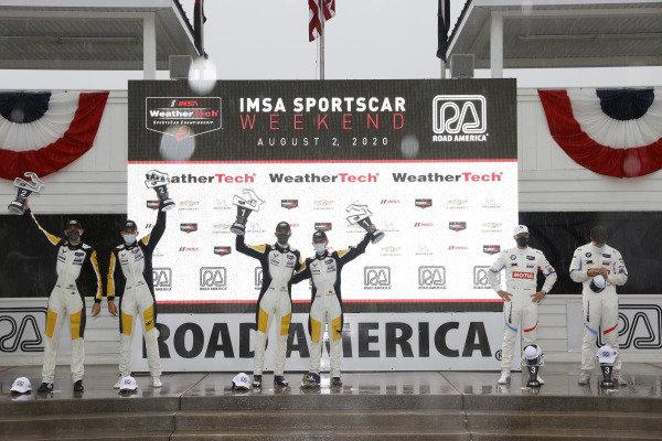 #4 Corvette Racing Corvette C8.R, GTLM: Oliver Gavin, Tommy Milner, #3 Corvette Racing Corvette C8.R, GTLM: Antonio Garcia, Jordan Taylor, #24 BMW Team RLL BMW M8 GTE, GTLM: John Edwards, Jesse Krohn, podium