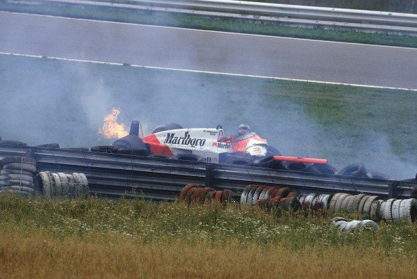 1987 Austrian Grand Prix.Osterreichring, Zeltweg, Austria. 14-16 August 1987.Stefan Johansson (McLaren MP4/3 TAG Porsche) crashes after hitting a deer. Ref-87 AUT 10.World Copyright - LAT Photographic