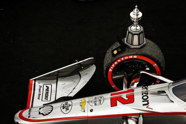 #12: Will Power, Team Penske Chevrolet celebrates winning the Harvest GP Race 2