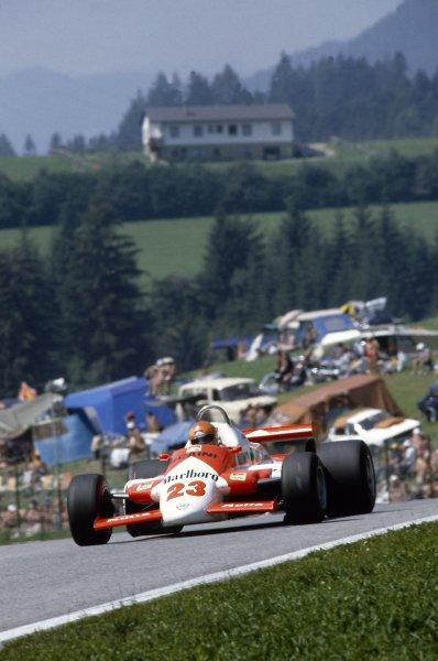 1981 Austrian Grand Prix.Osterreichring, Austria. 14-16 August 1981.Bruno Giacomelli (Alfa Romeo 179C), retired.World Copyright: LAT PhotographicRef: 35mm transparency 81AUT22
