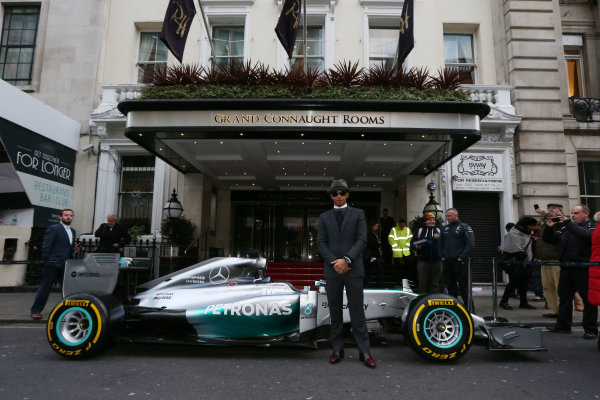 2014 BRDC Annual Awards The Grand Connaught Rooms, London, UK Monday 8 December 2014. F1 World Champion Lewis Hamilton outside the venue with his Mercedes F1 car. World Copyright: Ebrey/LAT Photographic. ref: Digital Image Hamilton--08