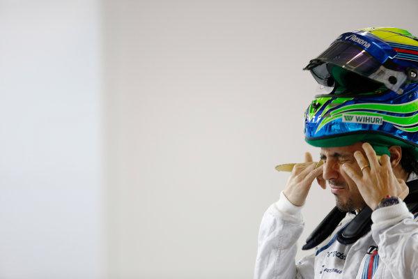 Shanghai International Circuit, Shanghai, China. Thursday 9 April 2015. Felipe Massa, Williams F1, in the garage. World Copyright: Charles Coates/LAT Photographic. ref: Digital Image _N7T2165