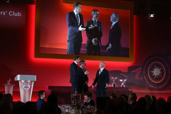 2015 British Racing Drivers Club Awards Grand Connaught Rooms, London Monday 7th December 2015 Jason Plato and Derek Warwick on stage. World Copyright: Jakob Ebrey/LAT Photographic ref: Digital Image Plato