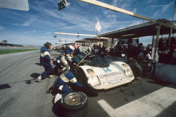 Daytona 24 Hours, Florida, USA. 31st January - 1st February 1987.Chip Robinson/Derek Bell/Al Unser, Jr. (Porsche 962), 1st position, action. World Copyright: LAT Photographic.Ref:  87IMSA DAY03.