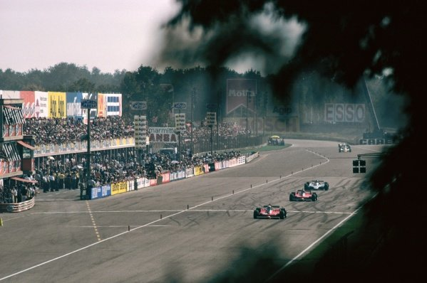 Race winner and World Champion Jody Scheckter (RSA) Ferrari 312T4 leads second placed team mate Gilles Villeneuve (CDN) Ferrari 312T4B and Jacques Laffite (FRA) Ligier JS11, who retired from the race on lap 42 with a blown engine.