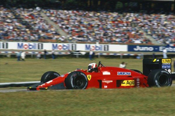 1987 German Grand Prix. Hockenheim, Germany. 24-26 July 1987. Gerhard Berger, Ferrari F1-87, retired, action.                        World Copyright - LAT Photographic