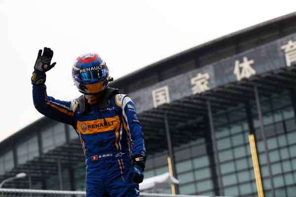 FIA Formula E Championship 2015/16. Beijing ePrix, Beijing, China. Sebastien Buemi (SUI), Renault e.Dams Z.E.15, celebrates his win Race Beijing, China, Asia. Saturday 24 October 2015 Photo: Sam Bloxham / LAT / FE ref: Digital Image _SBL7845