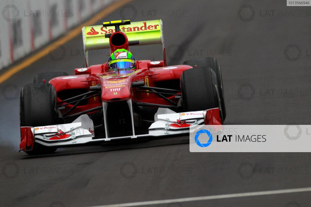 Albert Park, Melbourne, Australia 25th March 2011. Felipe Massa, Ferrari 150° Italia, and a rear wing covered in flourescent paint. Action.  World Copyright: Charles Coates/LAT Photographic ref: Digital Image _X5J8612