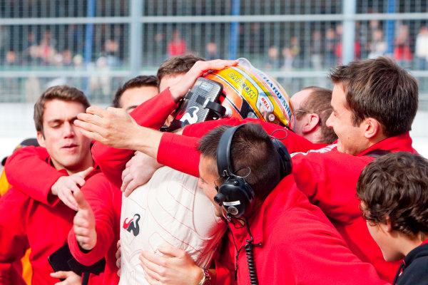 Dijon - Prenois, France. Sunday 11th October. Jules Bianchi (ART Grand Prix Dallara F308 / Mercedes) celebrates winning the 2009 Formula 3 Euro Series. World Copyright: Alastair Staley/LAT Photographic.Ref: _O9T9655 jpg