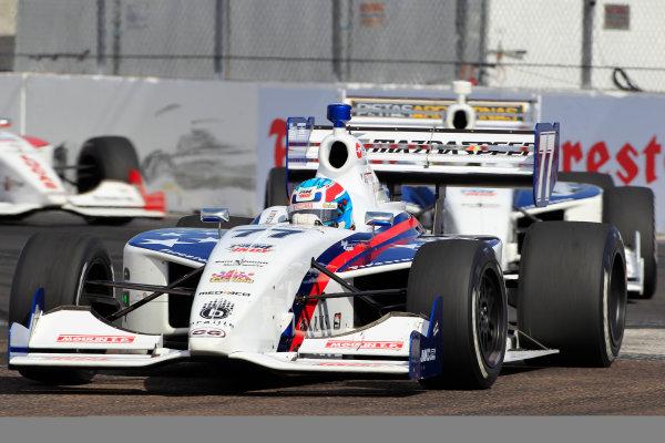 Tristan Vautier leads Estaban Guerreri in the Indy Lights St. Petersburg 100 in St. Petersburg, Fla on Saturday, March 24, 2012. (AP Photo/LAT,MIchael L. Levitt)