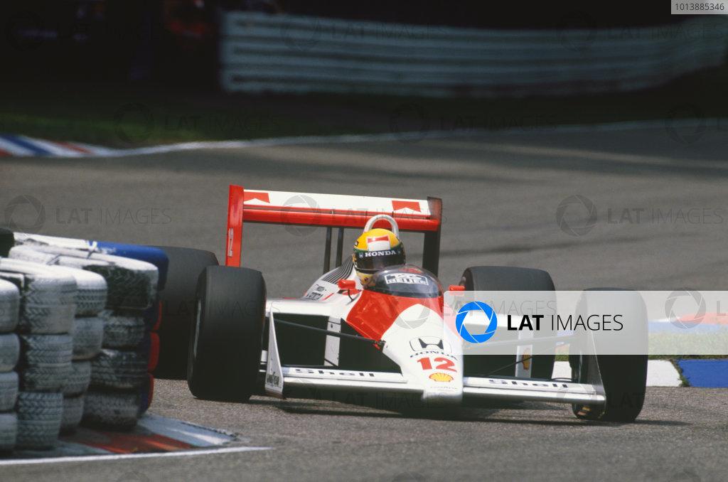 Hockenheim, Germany. 22nd - 24th July 1988. Ayrton Senna (McLaren MP4/4-Honda), 1st position, action.  World Copyright: LAT Photographic. Ref: 88GER13