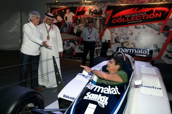 Former World Champion Nelson Piquet (BRA) attends the opening of the Bernie Ecclestone Heritage GP car collection with Bernie Ecclestone (GBR) F1 Supremo with Crown Prince Shaikh Salman bin Isa Hamad Al Khalifa. He sits in the Brabham BT50.