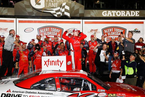 20-21 February 2015, Daytona Beach, Florida, USA Winner Ryan Reed celebrates in Victory Lane ©2015, Michael L. Levitt LAT Photo USA