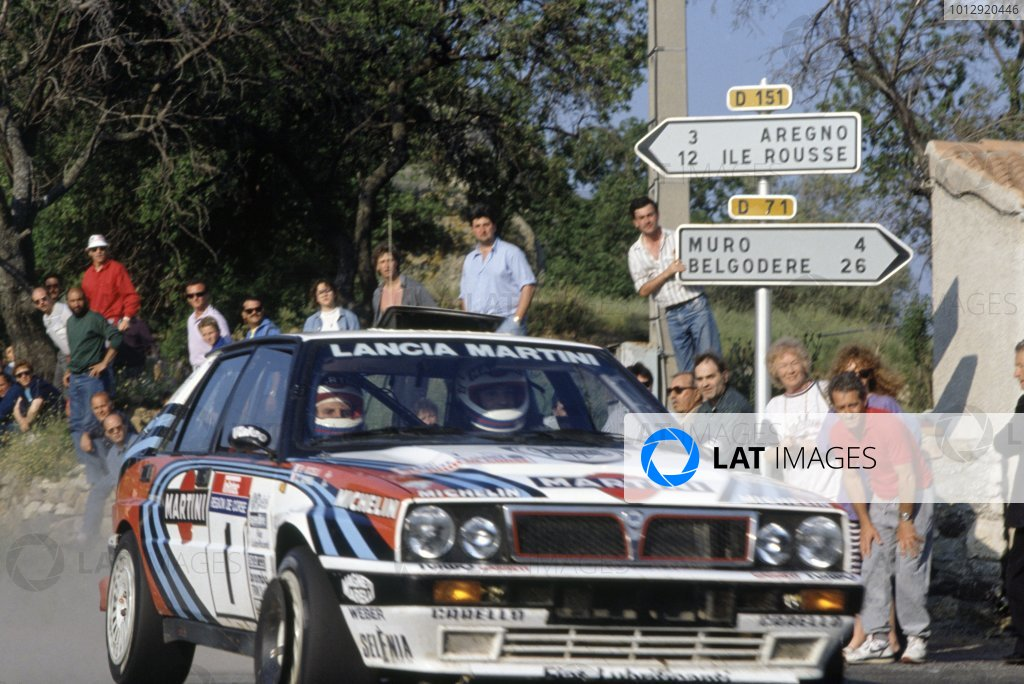 1990 World Rally Championship.Tour de Corse, Corsica, France. 6-9 May 1990.Didier Auriol/Bernard Occelli (Lancia Delta Integrale 16V), 1st position.World Copyright: LAT PhotographicRef: 35mm transparency 90RALLY03