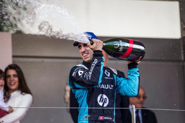 2016/2017 FIA Formula E Championship. Monte-Carlo, Monaco Saturday 13 May 2017. Sebastien Buemi (SUI), Renault e.Dams, Spark-Renault, Renault Z.E 16, celebrates on the podium. Photo: Andrew Ferraro/LAT/Formula E ref: Digital Image _FER8821