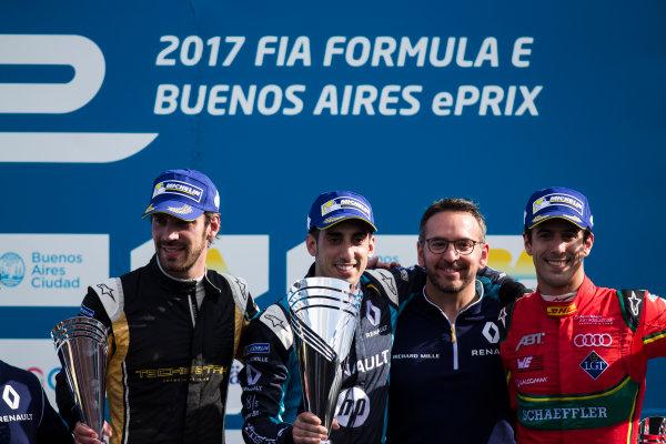 2016/2017 FIA Formula E Championship. Buenos Aires ePrix, Buenos Aires, Argentina. Saturday 18 February 2017. Jean-Eric Vergne (FRA), Techeetah, Spark-Renault, Renault Z.E 16, Sebastien Buemi (SUI), Renault e.Dams, Spark-Renault, Renault Z.E 16 & Lucas Di Grassi (BRA), ABT Schaeffler Audi Sport, Spark-Abt Sportsline, ABT Schaeffler FE02.  Photo: Sam Bloxham/LAT/Formula E ref: Digital Image _SLA8505