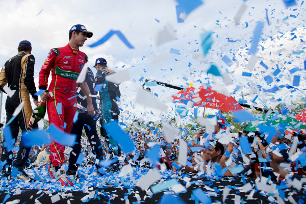 2016/2017 FIA Formula E Championship. Buenos Aires ePrix, Buenos Aires, Argentina. Saturday 18 February 2017. Lucas di Grassi (11, ABT Schaeffler Audi Sport) on the podium. Photo: Alastair Staley/LAT/Formula E ref: Digital Image _79P1058