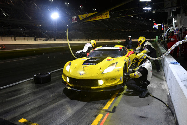 2017 Rolex 24 Hours. Daytona, Florida, USA. Saturday 28 January 2017. 3, Chevrolet, Corvette C7.R, GTLM, Antonio Garcia, Jan Magnussen, Mike Rockenfeller Pit Stop World Copyright: Rick Dole/LAT Images