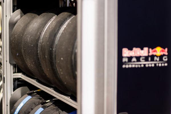 Monte Carlo, Monaco. Wednesday 24 May 2017. Pirelli tyres at the Red Bull Racing garage. World Copyright: Sam Bloxham/LAT Images ref: Digital Image _W6I9815