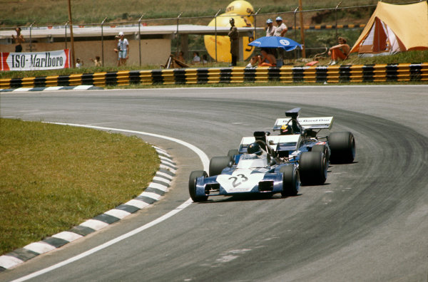 Interlagos, Brazil. 11 February 1973.  Luis-Pereira Bueno, Surtees TS9B-Ford, 12th position, leads Carlos Pace, Surtees TS14A-Ford, retired.  Ref: 73BRA16. World Copyright: LAT Photographic