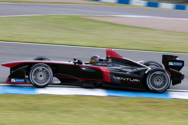 FIA Formula E Test Day, Donington Park, UK.  3rd - 4th July 2014.  Nick Heidfeld, Venturi Grand Prix. Photo: Malcolm Griffiths/FIA Formula E ref: Digital Image F80P6405