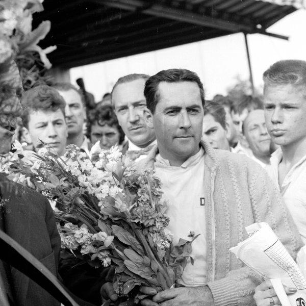 1960 Belgian Grand Prix.Spa-Francorchamps, Belgium.17-19 June 1960.Jack Brabham (Cooper) celebrates his 1st position. Ref-6623.World Copyright - LAT Photographic