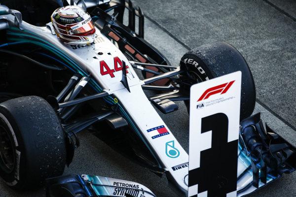 Lewis Hamilton, Mercedes AMG F1 W09 EQ Power+, in parc ferme after winning