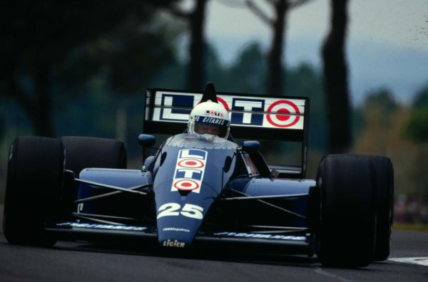 1987 San Marino Grand Prix.Imola, Italy.1-3 May 1987.Rene Arnoux (Ligier JS29B Megatron BMW).World Copyright - LAT Photographic