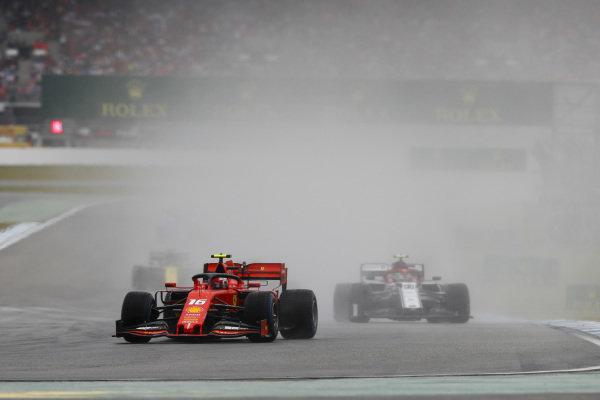 Charles Leclerc, Ferrari SF90 leads Antonio Giovinazzi, Alfa Romeo Racing C38