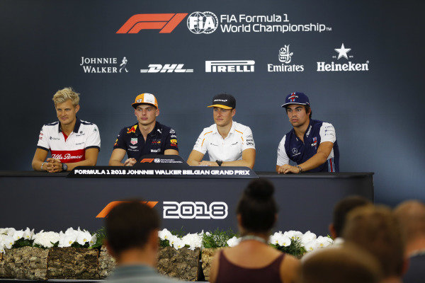 Marcus Ericsson, Alfa Romeo Sauber F1 Team, Max Verstappen, Red Bull Racing, Stoffel Vandoorne, McLaren, and Lance Stroll, Williams Racing, in the Thursday press conference.