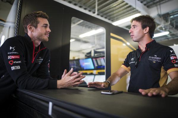 Antonio Felix da Costa (PRT), DS Techeetah talks to a member of the DS Techeetah team in the garage