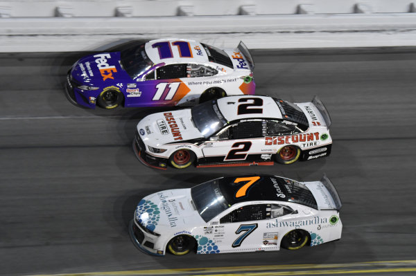 #11: Denny Hamlin, Joe Gibbs Racing, Toyota Camry, #2: Brad Keselowski, Team Penske, Ford Mustang Discount Tire, #7: Corey LaJoie, Spire Motorsports, Chevrolet Camaro Youtheory