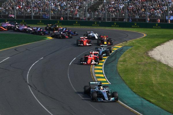 Lewis Hamilton (GBR) Mercedes-Benz F1 W08 Hybrid leads at the start of the race at Formula One World Championship, Rd1, Australian Grand Prix, Race, Albert Park, Melbourne, Australia, Sunday 26 March 2017.