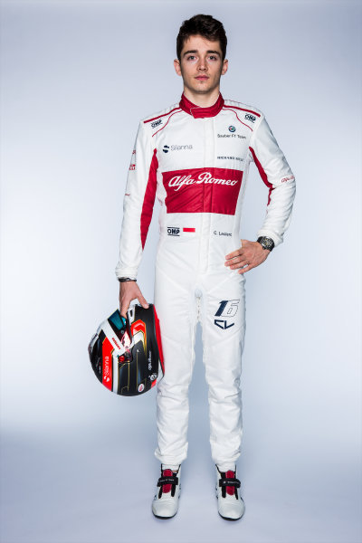 Charles Leclerc (MON) Alfa Romeo Sauber F1 Team at the Alfa Romeo Sauber F1 Team Launch, Hinwil, Switzerland, 20 February 2018.