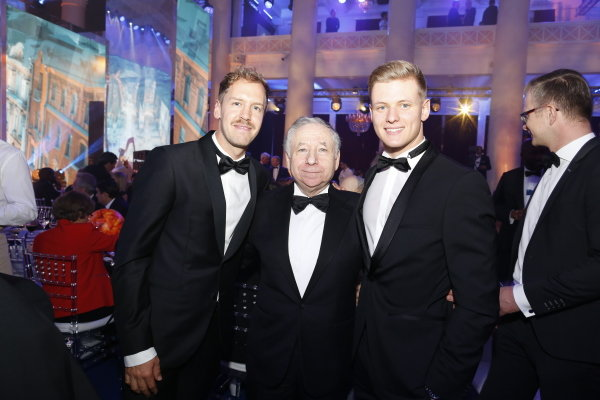 Sebastian Vettel, Jean Todt and Mick Schumacher