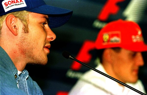 1997 Japanese Grand Prix.Suzuka, Japan.10-12 October 1997.Championship rivals Jacques Villeneuve (Williams Renault) and Michael Schumacher (Ferrari) face the press.World Copyright - LAT Photographic